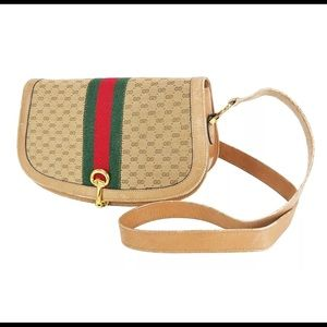 GUCCI GG Canvas and Leather Crossbody